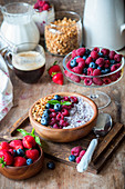 Chia pudding with berry yogurt