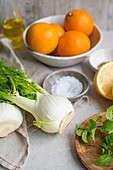 Ingredients for fennel and orange salad
