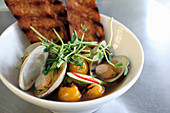 Bowl of clams in broth with roasted cherry tomatoes, cucumbers, red pepper, pea shoots and toast
