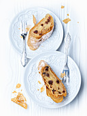 Two pieces of Viennese apple strudel