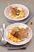 Goose legs with pumpkin risotto