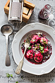 Beetroot gnudi with parsley