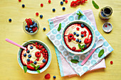 Custard with fresh fruits and fruit syrup