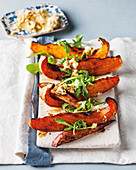Butternut squash and sweet potato wedges with walnut butter