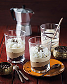 Mocha latte trifles with granita