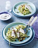Spaghetti with herbs and sweetcorn