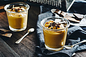 Caramel pudding with dark chocolate pieces