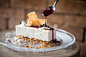 German gingerbread cheesecake with blueberry sauce