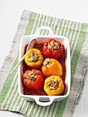 Stuffed red and yellow peppers