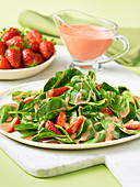 Spinach salad with a strawberry balsamic dressing
