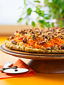 Sweet potato pizza with spiralized vegetables