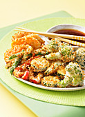 Vegetable tempura made in a hot air fryer