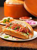 Vietnamese meatball sub sandwich