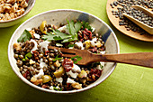 Mediterranean lentil salad with sun-dried tomatoes and feta