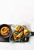 Spiced chicken bake with cumin pumpkin puree