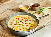 Creamy cheddar and potato soup with bacon