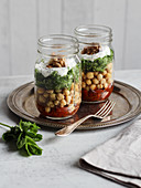 Cucumber and chickpea salad in a glass