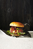 Classic burger with pickles and onion jam