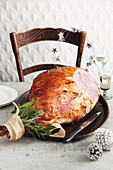 Brandy, rosemary and apricot-glazed ham