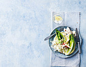 Cos salad with chicken, apple and hazelnuts
