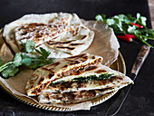 Naan bread with three different fillings