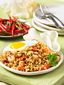 Indonesian fried rice with shrimp and egg