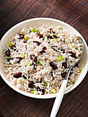Rice with beans and spring onions (Jamaica)