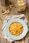 Fusilli with tomato sauce and pine nuts (Italy)