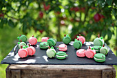 Colourful apple and caramel macaroons on a garden table