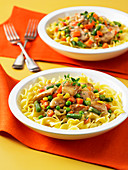 Chicken and vegetable stew served on pasta
