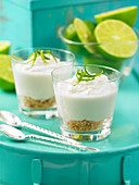 Key lime pie in shot glasses