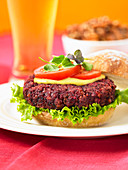 A pecan and beetroot burger