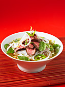 Pho Bo (Vietnamese noodle soup) with beef