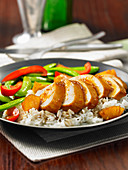 Pineapple chicken with peppers and rice