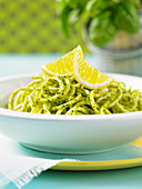 Parsnip spaghetti with pesto