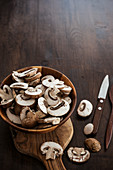 A bowl of sliced mushrooms