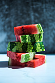 Watermelon Chunks Stacked; White Background