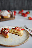 Quark pastries with strawberries