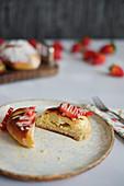 Quark pastries with strawberries