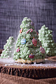 A Christmas tree with powdered sugar