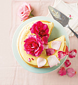 Rose cream cake with candied rose petals