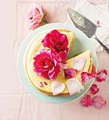 Rose cream cake with candied rose petals