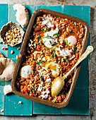 Moroccan lamb sauce with soft eggs