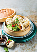 Steamed pork dumplings with Hoisin sauce