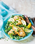 Parmesan chicken with peppermint peas