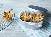 Mini toast quiches to take away