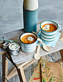Cream of sweet potato soup to take away