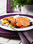 Roast salmon with root vegetables