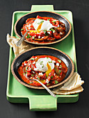 Shakshuka (poached eggs in tomato sauce)