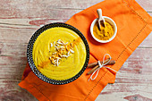 Golden turmeric pudding